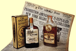 still life of vintage newspaper declaring Prohibition repealed and two bottles of Prohibition-era bourbon